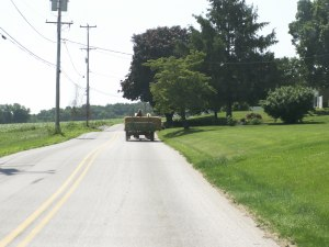 Driving can be hazardous.  This farmer with a loaded wagon fills the road ahead.